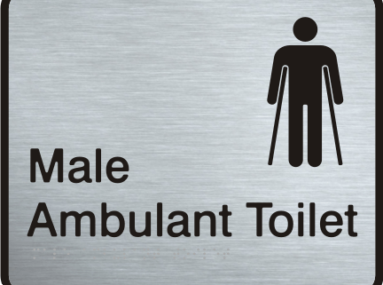 Stainless Steel Sign - Male Ambulant Toilet