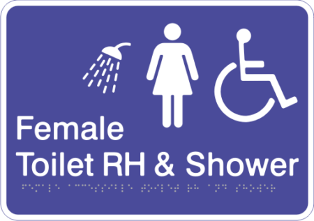 Acrylic Sign - Female Accessible Toilet – Right Hand Transfer & Shower