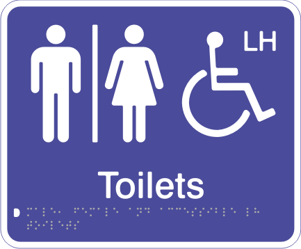 Acrylic Sign - Seperate Male, Female & Accessible LH Toilets