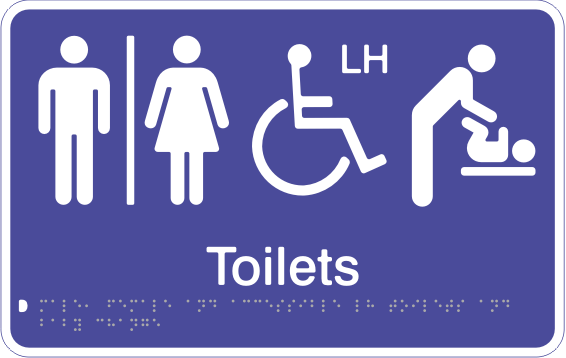 Acrylic Sign - Seperate Male, Female & Accessible LH Toilets & Baby Change