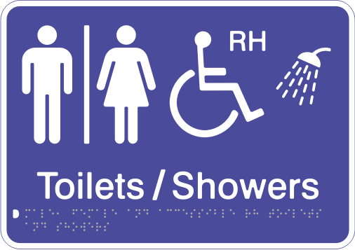 Acrylic Sign - Seperate Male, Female & Accessible RH Toilets & Showers