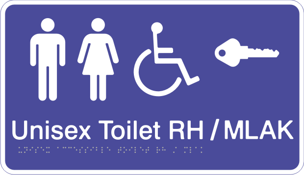 Acrylic Sign - Unisex Accessible Toilet – Right Hand Transfer / MLAK