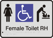 Anodised Aluminium Sign - Female Accessible Toilet – Right Hand Transfer & Baby Change
