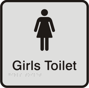 Anodised Aluminium Sign - Girls Toilet