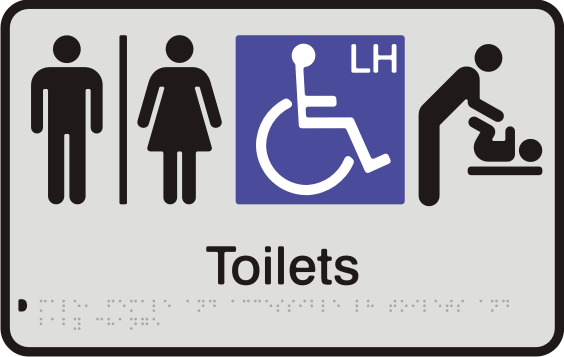 Anodised Aluminium Sign - Seperate Male, Female & Accessible LH Toilets & Baby Change