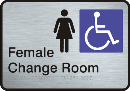 Stainless Steel Sign - Female Accessible Change Room