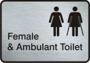Stainless Steel Sign - Female & Ambulant Toilet