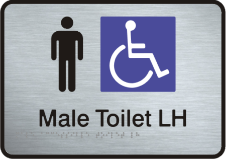 Stainless Steel Sign - Male Accessible Toilet – Left Hand Transfer