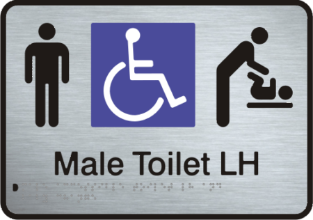 Stainless Steel Sign - Male Accessible Toilet – Left Hand Transfer & Baby Change