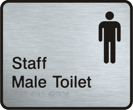 Staff male toilet stainless steel sign visualise braille signs for Stainless steel bathroom signs