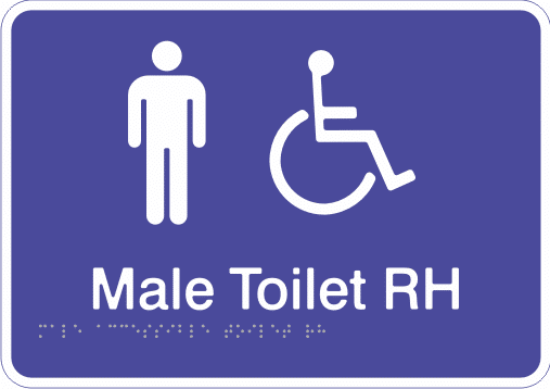 Acrylic Sign - Male Accessible Toilet – Right Hand Transfer