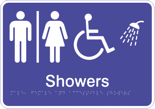 Acrylic Sign - Seperate Male, Female & Accessible Showers