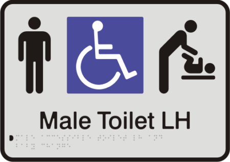 Anodised Aluminium Sign - Male Accessible Toilet – Left Hand Transfer & Baby Change