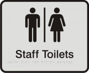 Anodised Aluminium Sign - Seperate Staff Male & Female Toilets